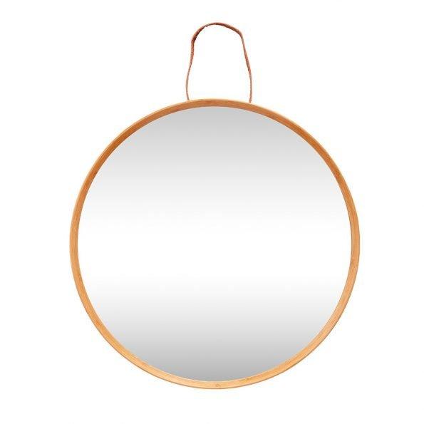 Apvalus veidrodis mediniais rėmais Ø60