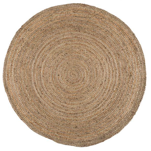Šviesus apvalios formos džiuto kilimėlis