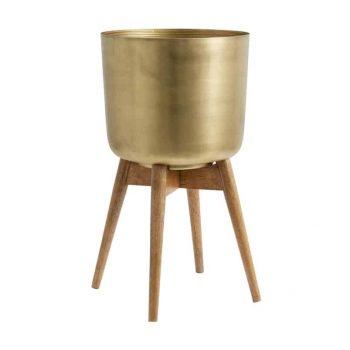 Vidutinis metalinis vazonas su mediniu stovu