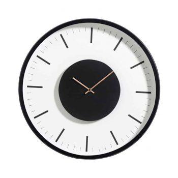 Apvalus laikrodis metaliniu juodu rėmu