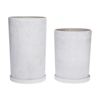 baltų akmens masės vazonų rinkinys su lėkštutėmis