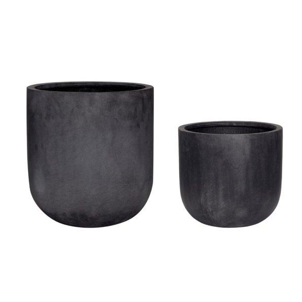 juodi keraminiai vazonai