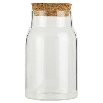 Stiklinis indas su kamščiu