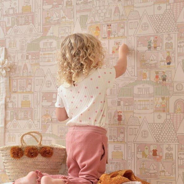 Tapetai Dollhouse sunny pink